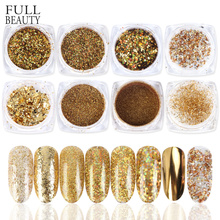 8pcs Gold Nail Glitter Powder Set Galaxy Aluminum Sequins Paillette Gel Mirror for Nail Art Decorations Shinning Dust CH1506 07