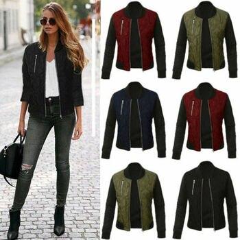 Women Autumn Long Sleeve Retro Slim Coat Ladies Cotton Jacket Zip Up Biker Casual Tops S-3XL