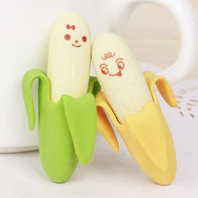 2PCS Lovely Cute Banana Eraser Fruit Style Pencil Rubber Novelty for Kids School Supplies Student Office Stationery Gifts Banana(China)