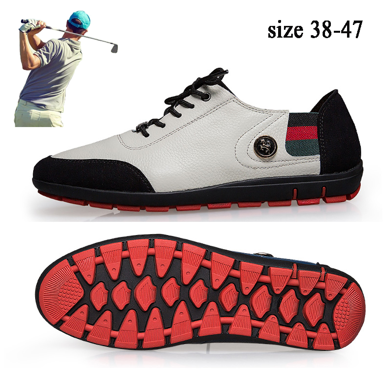 New Leather Golf Shoes Men Waterproof Golf Sneakers Anti Slip Sport Golfing Shoes for Men High Quality Jogging Walking Shoes
