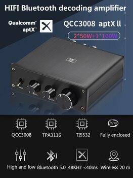 HiFi 2.1 Channel DAC Decoding Bluetooth 5.0 aptx ll Optional Class-D TPA3116 Power Amplifiers Home Audio Digital Sound Amplifier bluetooth 5 0 hifi power amplifiers stereo home audio digital sound amplifier with treble bass