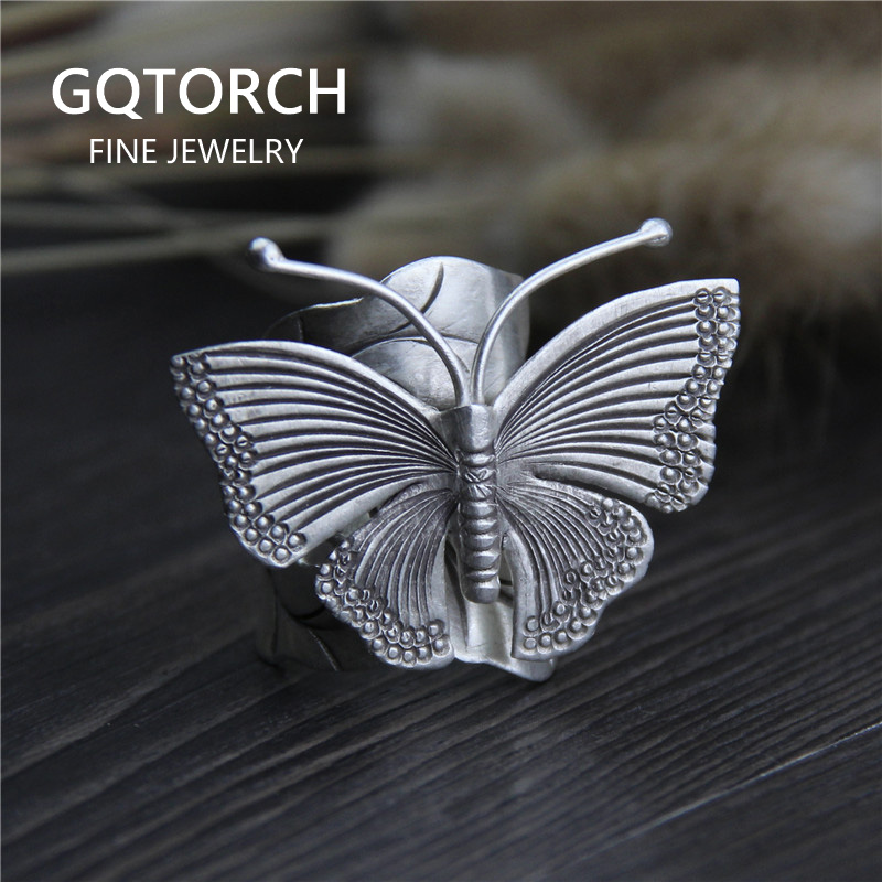 Handmade Real Solid 999 Sterling Silver Large Butterfly Rings For Women Animal Rings Elegant Fine Jewelry Adjustable