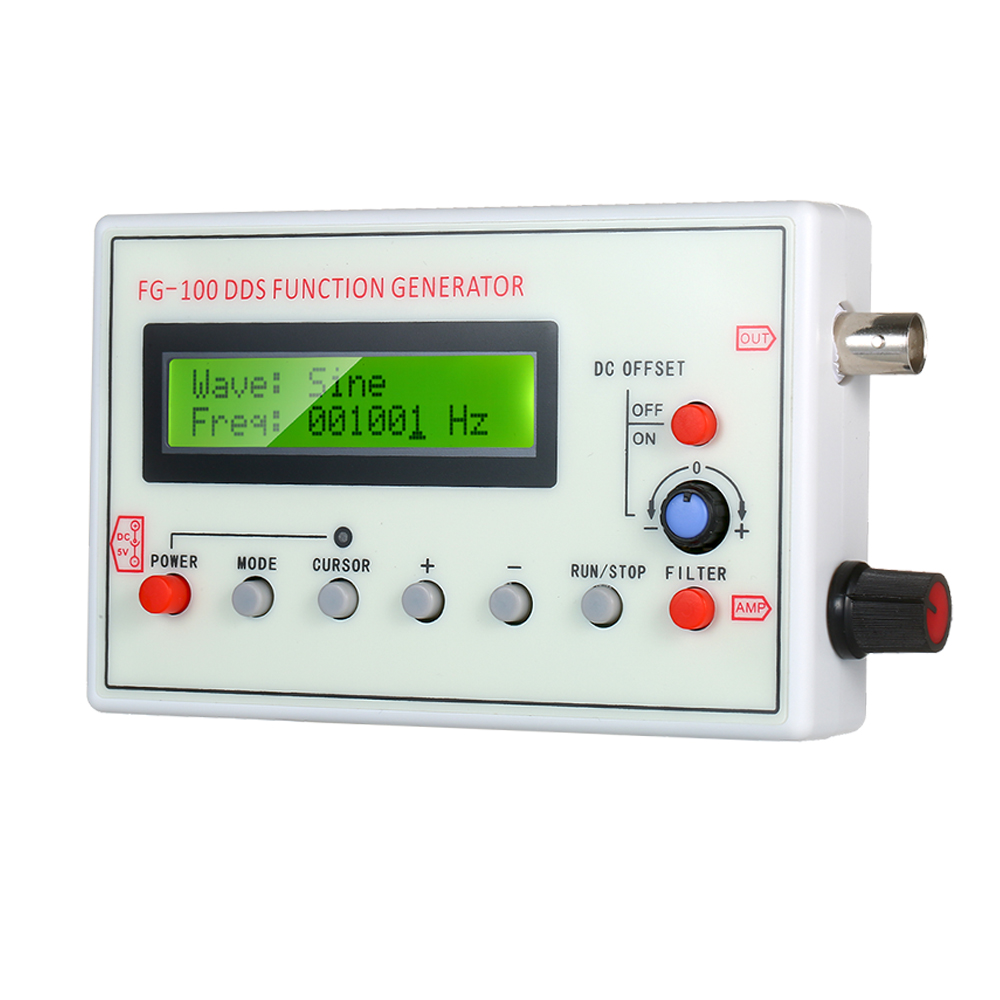1HZ-500 кГц FG-100 DDS генератор сигналов синусоидальной Треугольники сигнал прямоугольной пилообразный ЭКГ Шум Выход частотомер источника сигна...