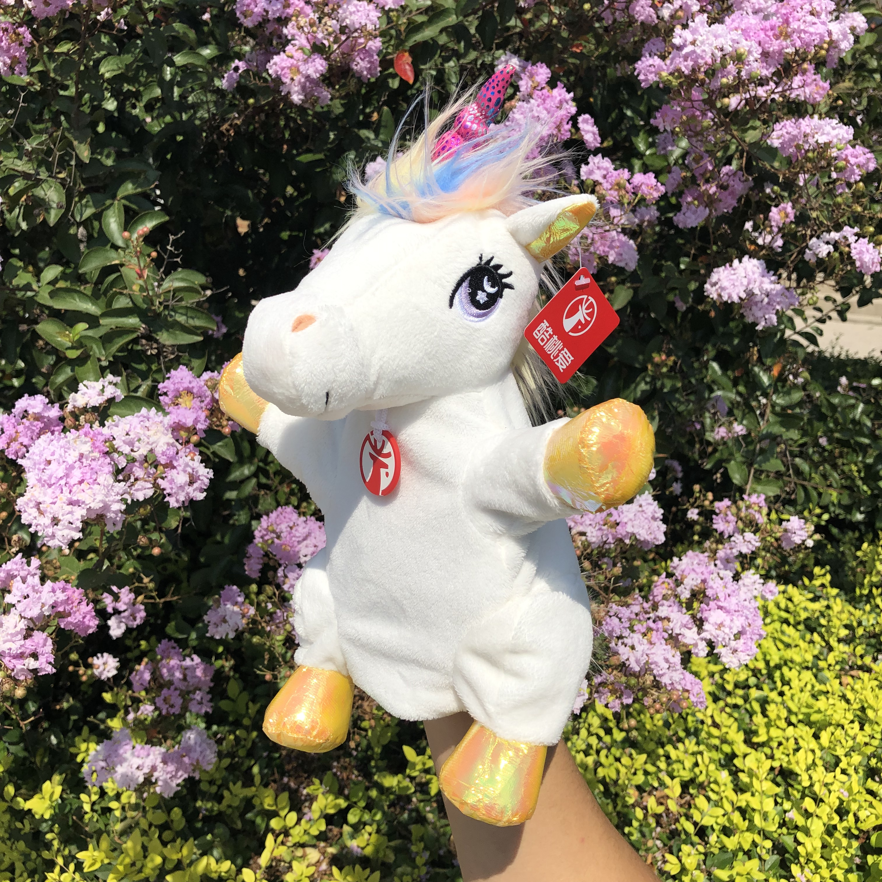 Cute Hand Plush Unicorn Puppet Doll Sheet Horse Puppets Parent-child Early Educational Toy Children Plush Playing Birthday Gifts