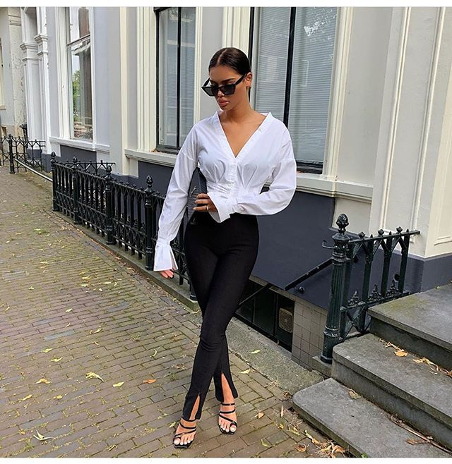 Women Front Slit Slim Fit Trousers Solid Color High Waist Stretch Pants Elegant Women Fashion Office Pants Street Wear