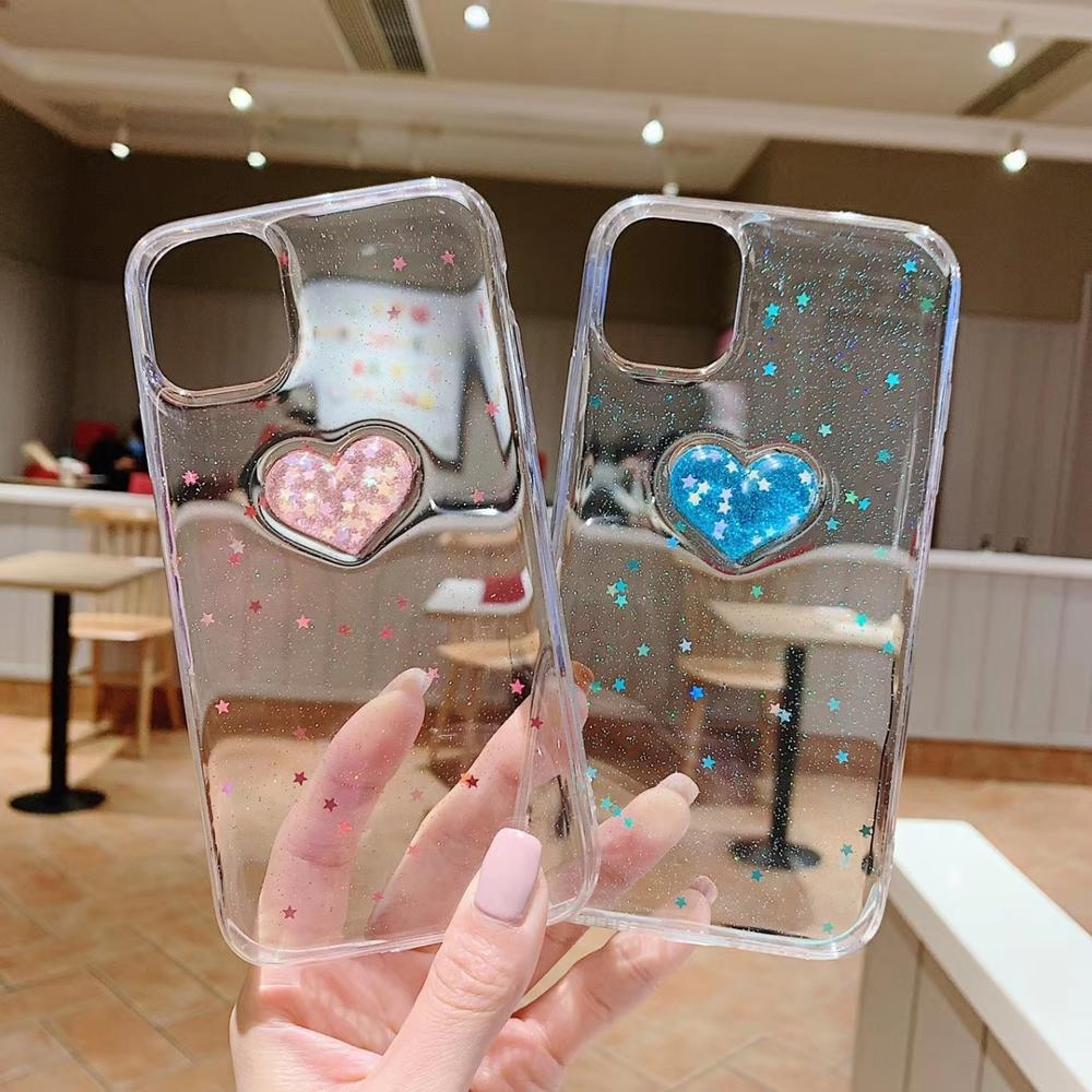 3D Love Heart <font><b>Glitter</b></font> Star Phone Cover For <font><b>iPhone</b></font> 11 Pro Max XR XS Max Clear Soft Silicon Case for <font><b>iPhone</b></font> <font><b>8</b></font> 7 6 Plus Capa <font><b>Hoesje</b></font> image