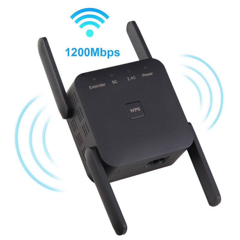 WiFi Router Range Extender 300/1200Mbps WiFi Repeater Wireless Signal Booster 2.4&5GHz Dual Band Wi-Fi 1Lan Port Simple Setup