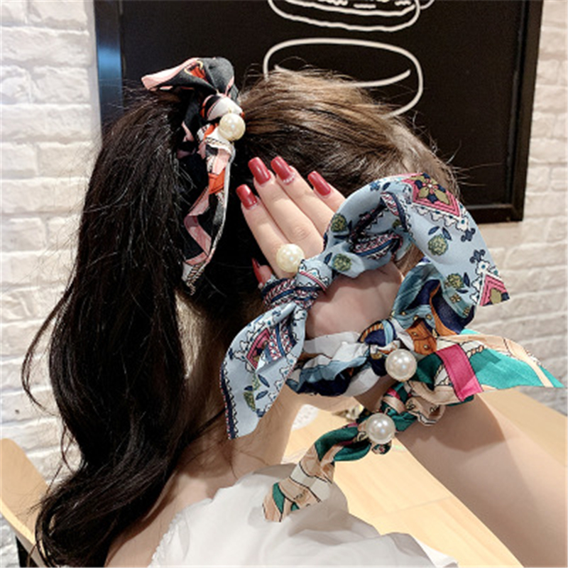 2020 Women Elegant Vintage Print Bow Knot Pearls Elastic Hair Bands Sweet Headband Rubber Band Scrunchie Fashion Hair Accessorie