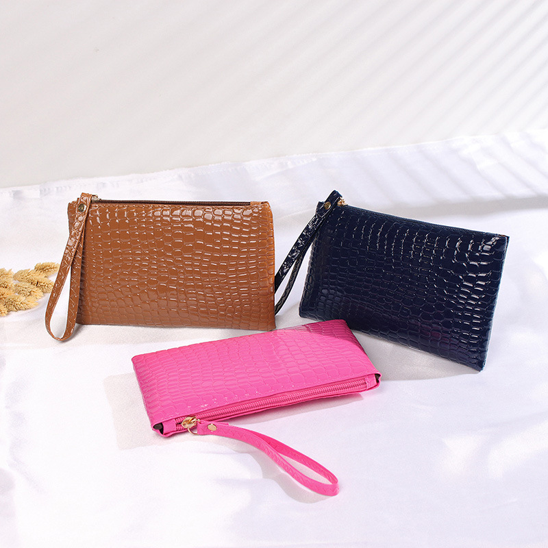 Women's Multi-function Bag Solid Color Crocodile Pattern Simple Fashion Mobile Phone Bag Purse Femme
