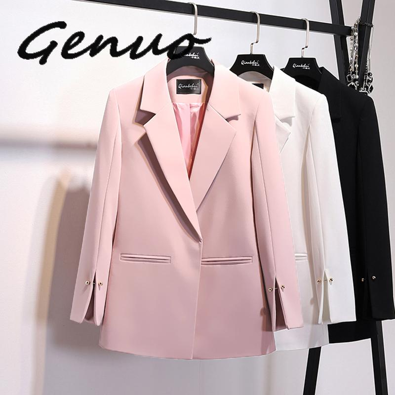 Genuo 2019 Spring New Pattern Coat Notched Collar Spilt Sleeve Pearls Decoration Pocket Ladies Fashion Blazer