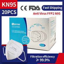 KN95 FFP2 Mask Anti Virus Dust Coronavirus Mouth Face Mask Protection Level N95 Mask 99% Filtration Individual Packs In Stock