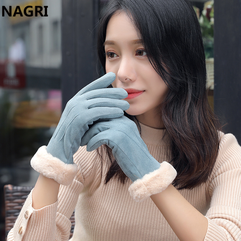 Winter Fashion Women 2019 Thick Warm Chammy Suede Leather Fur Fleece Touchscreen Mittens Driving Elegant Plush Gloves For Women
