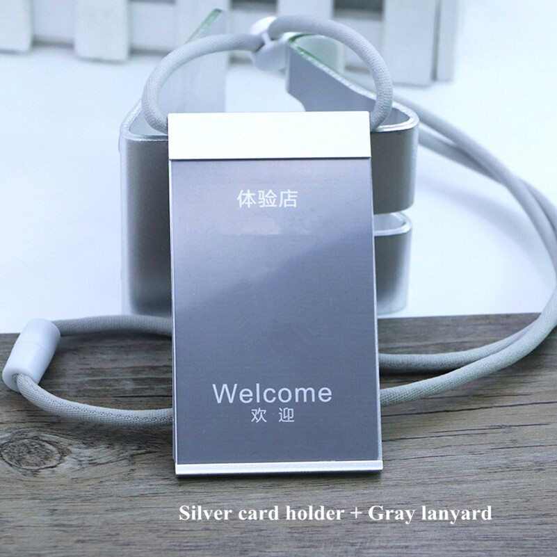 Aluminum Pocket Business Work ID Card Badge Tag Holder Pass Case Neck Lanyard