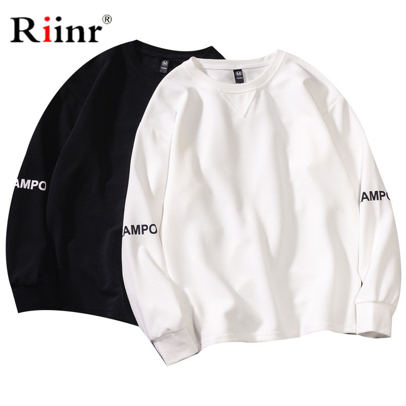 Riinr Brand Men Fashion Sweatshirt Street Letter Printing Men's Pullover Jogger Cotton Top Simple Style Hoodies Male Casual