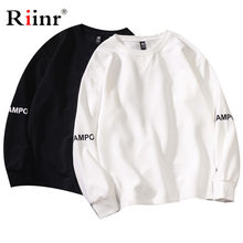 Riinr Brand Men Fashion Sweatshirt Street Letter Printing Men's Pullover Jogger Cotton Top Simple Style Hoodies Male Casual(China)