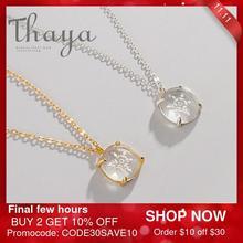 Thaya Schnee Blume Geschnitzte Anhänger Halskette s925 Silber Edelweiss Kristall Elegante Freundschaft Charme für Frauen Einfache Dainty Schmuck