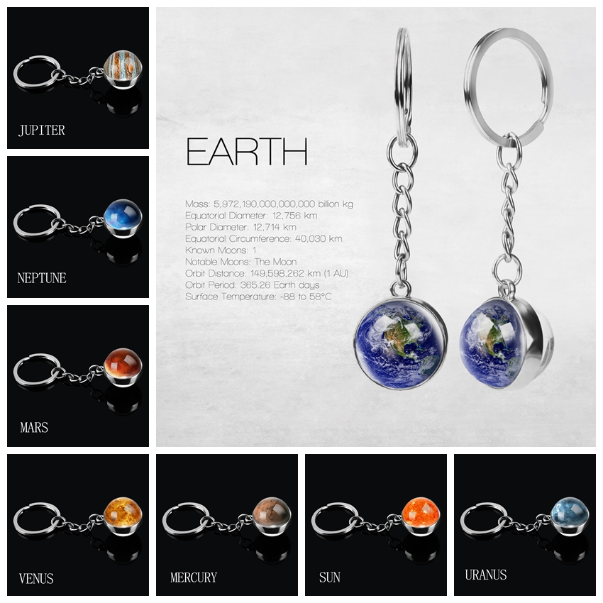 Solar System Planet Keyring Galaxy Nebula Space Keychain Moon Earth Sun Mars Picture Double Side Glass Ball Jewelry Key Chains
