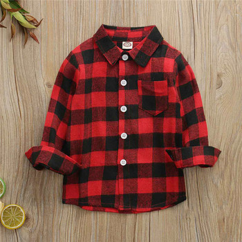 Toddler Kids Baby Boy Girl Red Plaid Tops Shirt Buttoned Long Sleeve Shirt  Kids Blouse Clothes 1-6Y 1