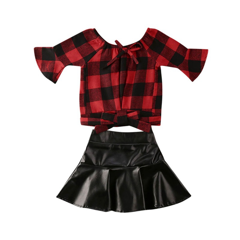 2PCS Girls Kids Red Plaid Long Sleeve Tops Shirt Leather PU Skirt Summer Stylish Kid Girls Outfits Clothes Sets03