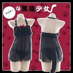 Image 5 - Lencería Sexy japonesa erótica, disfraz Cosplay de gato, bragas abiertas en la entrepierna, cofre hueco en la cola, ropa de dormir de encaje erótico para mujer negra