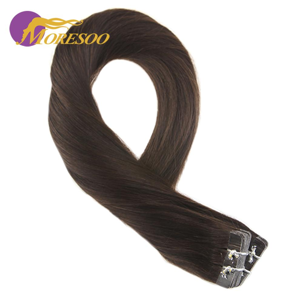Moresoo Tape In Human Hair Extensions Brazilian Hair #2 Darkest Brown 12-24inch Real Hair Extensions Machine Remy Hair Straight