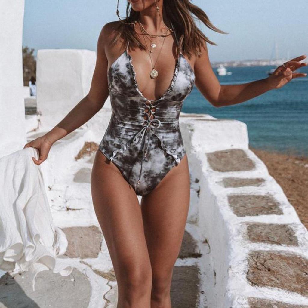 Hot Sexy Underwear 2019 Fashion Oil Print Bathing Suit Women Underwear Set Jumpsuit Push-Up Female's Daily De Bain Bathing Wears