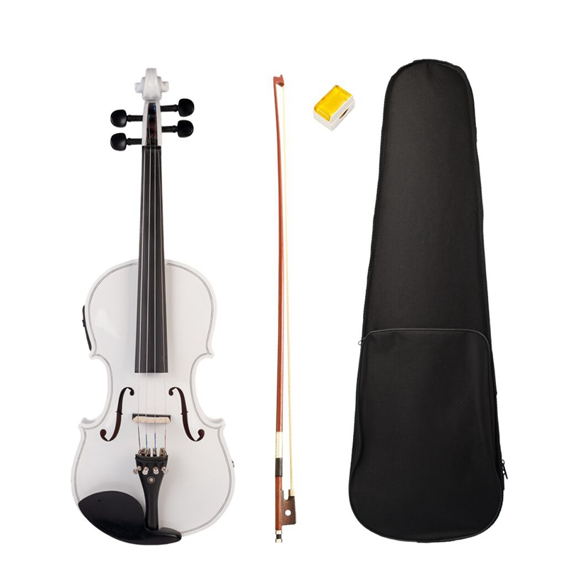 4-String White Acoustic Violin 4/4 Full-Size Violin Solid Wood Body Ebony Accessories High Quality Violin
