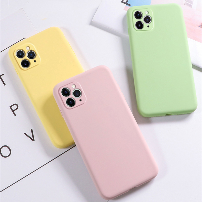 Liquid <font><b>Phone</b></font> <font><b>Case</b></font> for <font><b>iPhone</b></font> X XR Xs Max 11 11 Pro Max Candy Pure Color Silicone Cover Soft Back <font><b>Case</b></font> for <font><b>iPhone</b></font> 7 <font><b>8</b></font> 6 6s Plus image