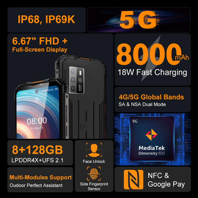 "OUKITEL WP10 5G Rugged SmartPhone Global Version 8GB+128GB 8000mAh Mobile Phone 6.67"" FHD+ MeditaTek 48MP Quad Camera Phone 5"