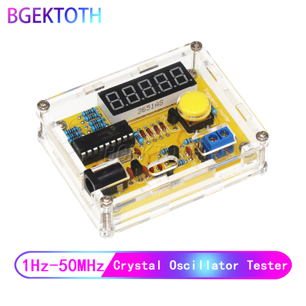 1Hz-50MHz Crystal Oscillator Frequency Counter Meter Digital LED PIC +Mini case DIY +USB Cable