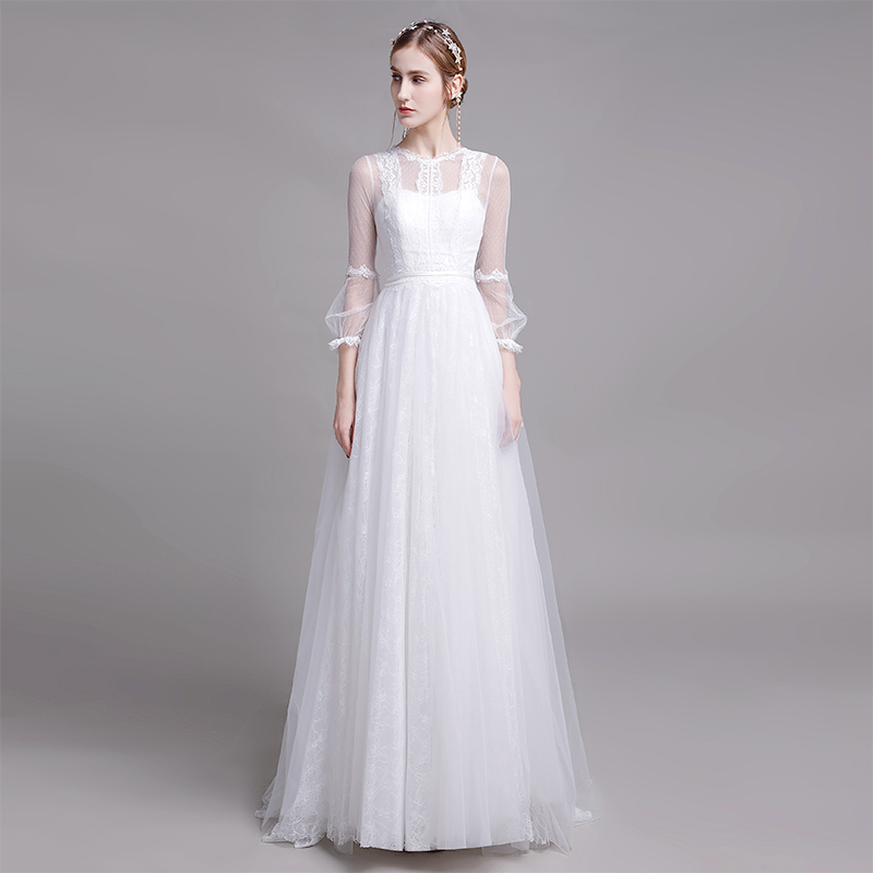 Lace White Wedding Dresses 2020 Long A Line Zipper Bridal Wedding Party Bridal Gowns Party Bride Dresses