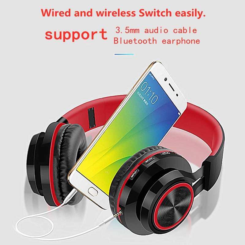 Lvcards Earphone Bluetooth Headphone Musik Headset (Bluetooth4.1 Dukungan Kartu Tf) untuk Ponsel Nirkabel/Kabel Headphone A101