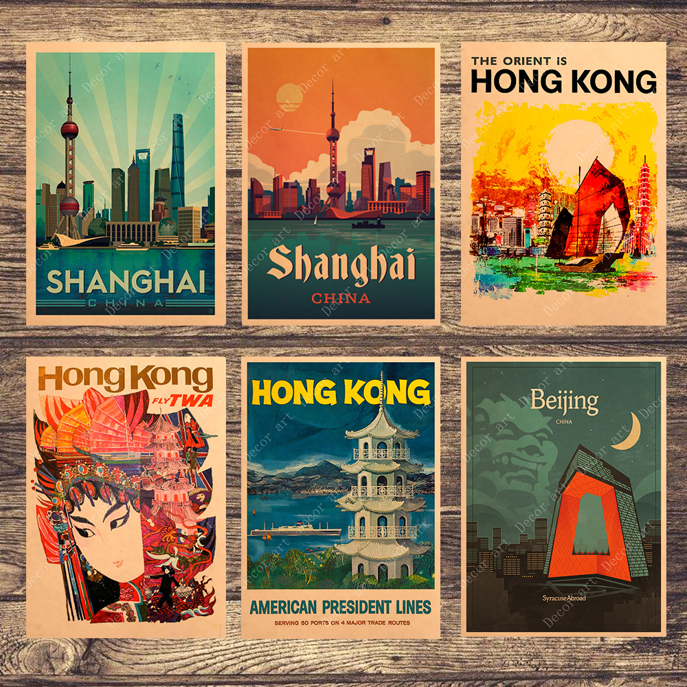 China Shanghai Beijing Hong Kong Canvas Paintings Vintage Wall Pictures Kraft Posters Coated Wall Stickers Home Decor Gift