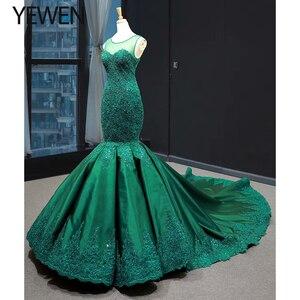 Image 2 - Green long Mermaid dresses evening 2020 O Neck formal dress women elegant evening party gown vestidos de fiesta talla grande