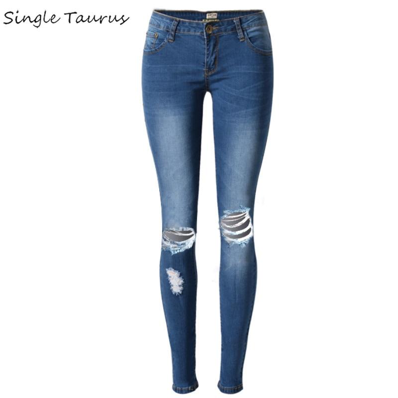 Fashion Low Waist Ripped Jeans Women Super Elastic Hole Women Jeans Wild Blue Skinny Jeans Push Up Vintage Pantalon Femme XXL