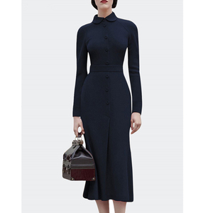 Image 5 - dressing dresses for women creamy white audrey hepburn dress peter pan collar belted button midi business dress for women office