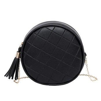 Women Mini Round Bags Solid Color Plaid Shoulder Handbags Small Tassel Crossbody Purses Clutches