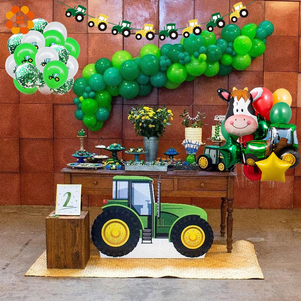 1Set Of Farm Theme Baby Age Decoration Construction Vehicle Happy Birthday Banner Truck Excavator Cake Decoration Tractor Party