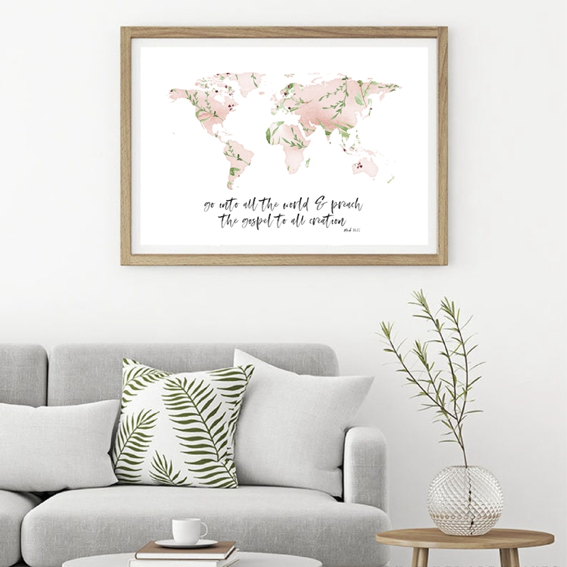 Floral World map Wall Art Print