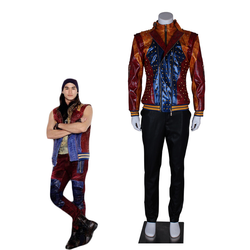 Descendants 2 Cosplay Jay Cosplay Costume Leather Jacket Punk Riveting Coat High Quality Cool Halloween Custome for Men Boys