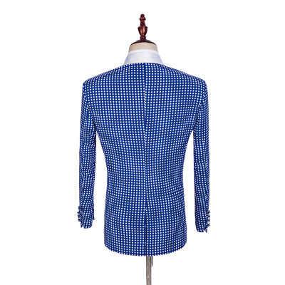 Slim Fit da Uomo Formale Vestito di Usura Bianco Dot Blazer Set 2 Pezzi Primavera Attività Conferenza Cappotto da Sera Elegante Magliette E Camicette Vestito