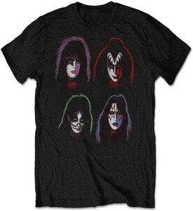 KISS/классическая мягкая футболка с логотипом лица, мужская, женская, черная, Мужская одежда, топы, футболки