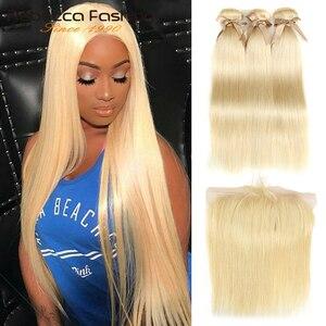 Rebecca 613 paquets blonds avec des paquets frontaux droits de cheveux humains armure brésilienne Blonde de cheveux 3 paquets avec la fermeture frontale