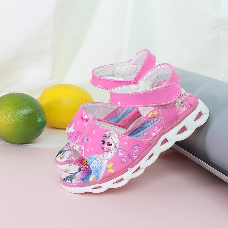 Image 5 - 2018  Elsa Sandals Princess Elsa Anna Shoes Print Cartoon Summer Toddler Girl Beach Shoes Ice Snow Queen New Fashion Girl sandalSandals   -