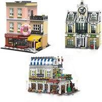 For GSBAN MOC Creator City Streetview European Mall Romantic restaurant Dessert shop Figures Model Building Block Toy Children