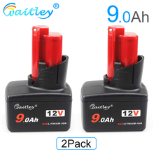 Waitley 2PCS 12v 9.0Ah Replacement Battery for Milwaukee Power Tool M12 12Volt 9000mAh Cordless Tools 48-11-2440 48-11-2402\2411