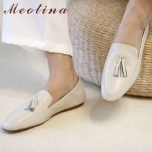 Meotina Genuine Leather Flat Loafers Shoes Women Round Toe Shoes Cow Leather Fringe Flats Footwear Ladies Casual Shoes White 40