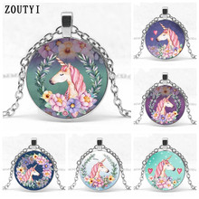 2019 / new cute watercolor colorful unicorn crystal inlaid pendant necklace girl jewelry gifts, birthday gifts.
