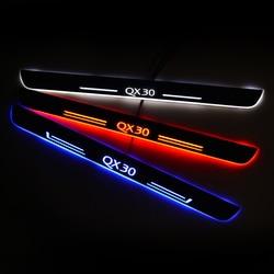 Próg drzwi LED dla Infiniti QX30 2016 do 2020 drzwi płyta chroniąca przed zarysowaniem wejście próg straży witamy światła akcesoria samochodowe Naklejki samochodowe    -