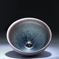 JIANZHAN Tea Cup Vintage Ceramic Pottery Tea Bowl Song Dynasty' style Tenmoku Bowl by Famous Potter Guowen Chen W/gift box